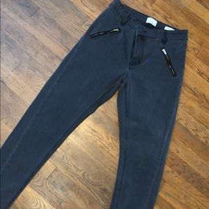 Dark Grey Frayed Ankle Jeans